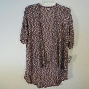 LuLaRoe Sweaters - LuLaRoe Lindsay Kimono Cardigan Burgundy White Sm